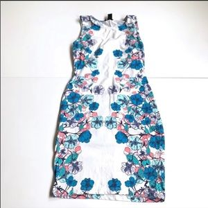 H&M white blue floral mini Bodycon dress small